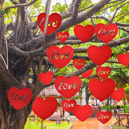 TOODOO 20 Pieces Large Valentine Heart Decoration Valentine's Day Hanging Hearts Lawn for Wedding and Party Decorations, 11.8 Inch and 5.9 Inch, Red