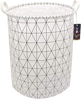 HKEC 19.7'' Waterproof Foldable Storage Bin, Dirty Clothes Laundry Basket, Canvas Organizer Basket for Laundry Hamper, Toy Bins, Gift Baskets, Bedroom, Clothes, Baby Hamper(White Stripe)