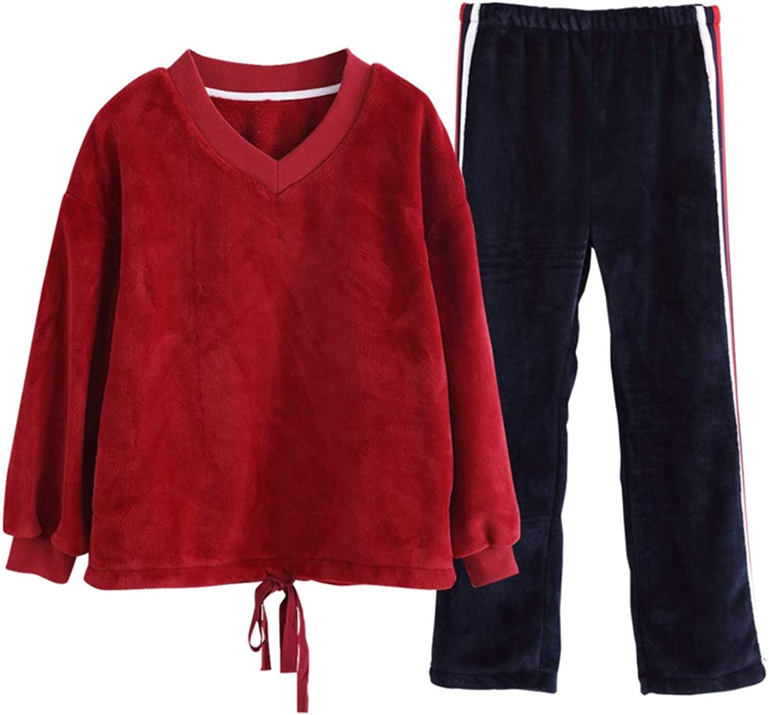 Sleepwear Wine red Nightgown Females Coral Velvet Nightwear Applicable for Autumn and Winter Solid color Pajamas for Girls Pajama Sets (color   Wine Red, Size   M)