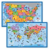 2 Pack - World & USA Map for Kids [Illustrated] - 2 Poster Set (Laminated, 18