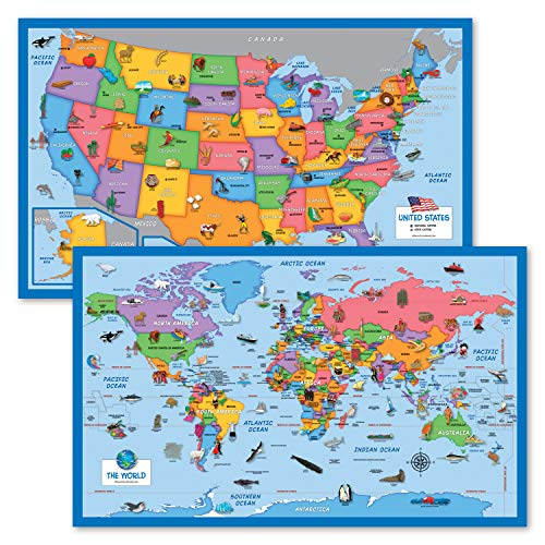 2 Pack - World & USA Map for Kids [Illustrated] - 2 Poster Set (Laminated, 18' x 29')