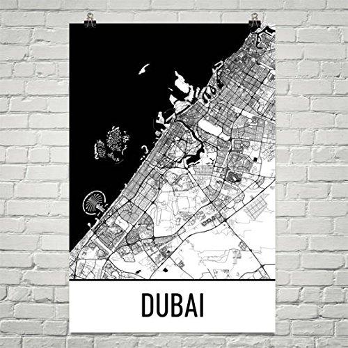 Dubai Map, Dubai Art, Dubai Print, Dubai UAE Poster, Dubai Gifts, Dubai Wall Art, Verenigde Arabische Emiraten Gifts, Kaart van de Verenigde Arabische Emiraten Poster
