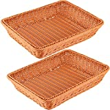 ZEONHAK 2 Pack 16 Inches Poly Wicker Bread Baskets, Tabletop Food Serving Baskets, Handmade Woven Pantry Organizer for Vegetables, Fruits and Snacks, Restaurant, Hotel Serving