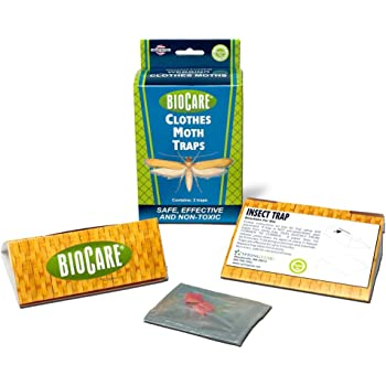 BioCare Clothes Moth Sticky Traps with Pheromone Lures, Nontoxic and Pesticide-Free, Made in USA, 2 Count