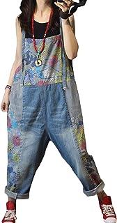 Pantalones holgados para mujer, de algodón, con bolsillos Azul Ll36 Azul L