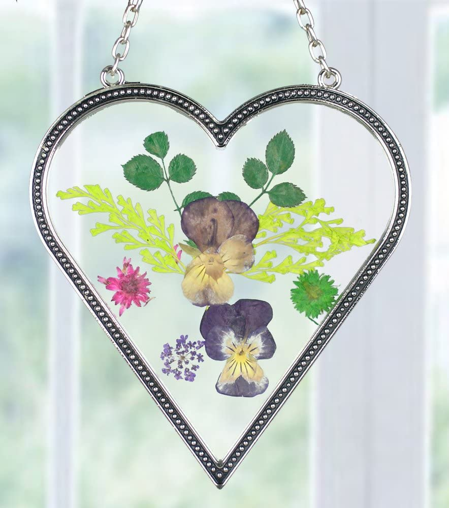 Heart Shaped Suncatcher with Real Flowers Popularity in Ranking TOP3 Pressed Glass
