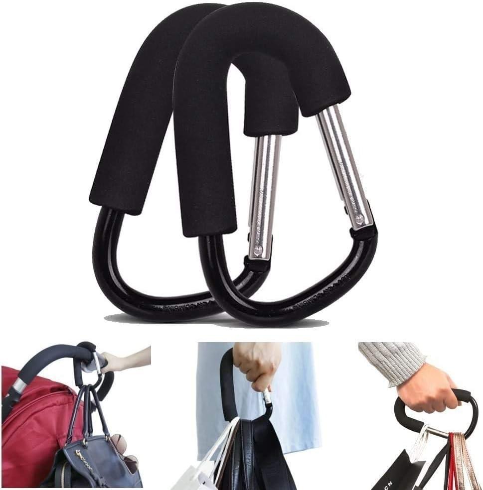 MINI-FACTORY (Pack of 2) Extra Large Stroller Hooks, Multi-Purpose Gift Packing Hanger Hooks for Diaper, Shopping Bags, Purses - Black