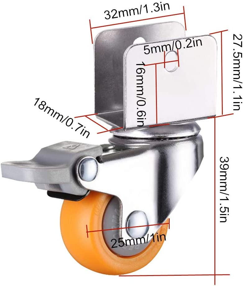 1inch Caster Wheels with Safety Dual Locking,25mm Small Nylon Castor Wheels,Furniture Swivel Castors for Baby Bed,with U-Shaped Bracket,Load Bearing 50Kg,4Pcs,Yellow brake16mm//0.6in