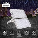 Focos LED Exterior 200W Luz de inundación Proyector LED Exterior Impermeable IP66 Floodlight 6500K Iluminación Exterior para Jardín, Taller, Garaje, Fábrica, Bodega, Gimnasio, trasteros
