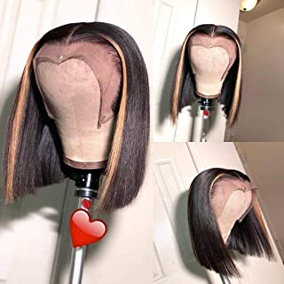 13x6 Lace Front Wigs Brazilian Virgin Human Hair Pre Plucked Hair Line for Black Women Highlight Straight 150% Density with Baby Hair (14 inch, 150% density lace front wig)