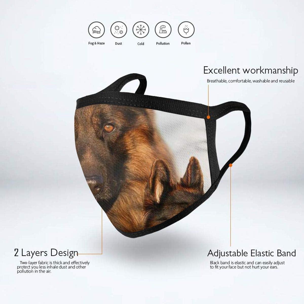 LANJYF 2 Packs Dust Mouth Wear, German Shepherd Collage Unisex Cotton Face Cloth