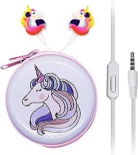 in Ear 3D Cute Cartoon Animal Unicorn Earbuds Headphones with Mic with Earphone Case Hands-Free Orange J12