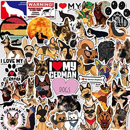 YRSM Pegatina de perro pastor alemán con diseño de dibujos animados, diseño de cachorro, portátil, tableta, decoración de equipaje, impermeable, 50 unidades