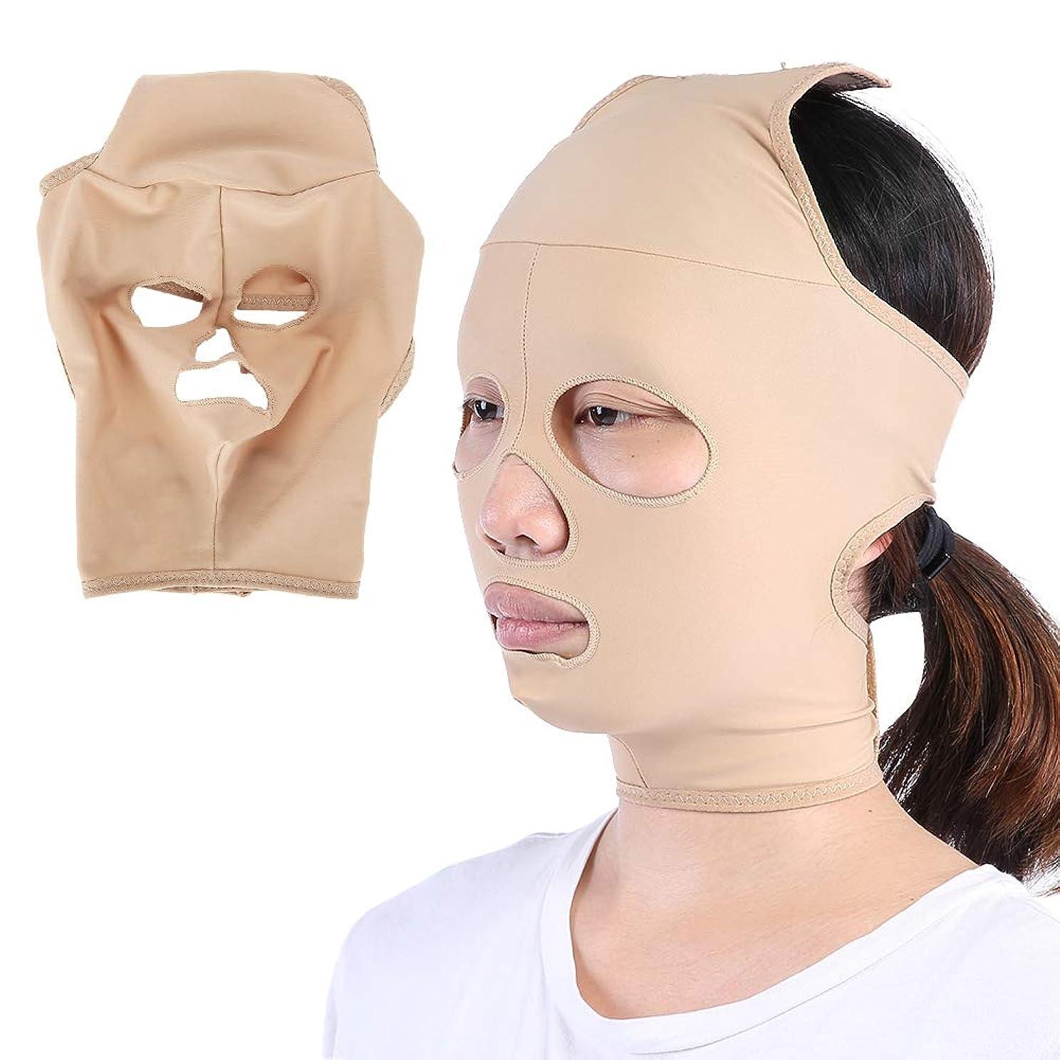 薄いですまだ噴出する顔の减量のベルト、完全なカバレッジ 顔のVラインを向上させる 二重顎を減らす二重顎、スキンケア包帯(S)