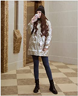 Women's Down Coat Thicker Hooded Winter Slim Down Lammy Jacket Long Parka Puffer Jacket Casual Comfy Padded Parka Jacket Coat, Hiking & Casual Daily Coats,Gold,M