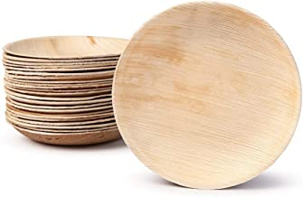 Small Palm Leaf Appetizer Plates - Shallow Bowls - Environmentally disposable tableware  25 pieces   4 Inches round   Bamboo Style   Biodegradable & Compostable   Finger Food, Small Bites, Sauce Dish
