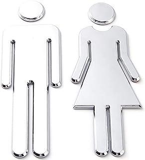 Stickers pour Toilettes,12x4cm,ignes WC de Symboles Hommes et Femmes,Facile à Coller Signes WC Homme Femme pour Toilette WC