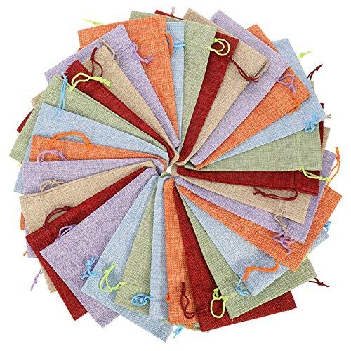 HOPELUCKIN 30枚セット 13x18cm 6色 亜麻 ミックス 和風 巾着袋 ラッピング袋 ギフトラッピング ジュエリーポーチ プレゼント用 可愛い 飾り物パーツ オリジナル 手作り 使いやすい DIY用品 ビーズ・ジュエリー・アクセサリー・お菓