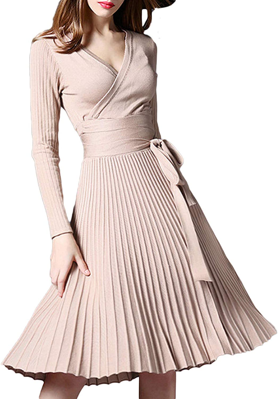 Women V Neck Long Sleeve Mock Wrap Fit Flare Belted Knit Sweater Dress
