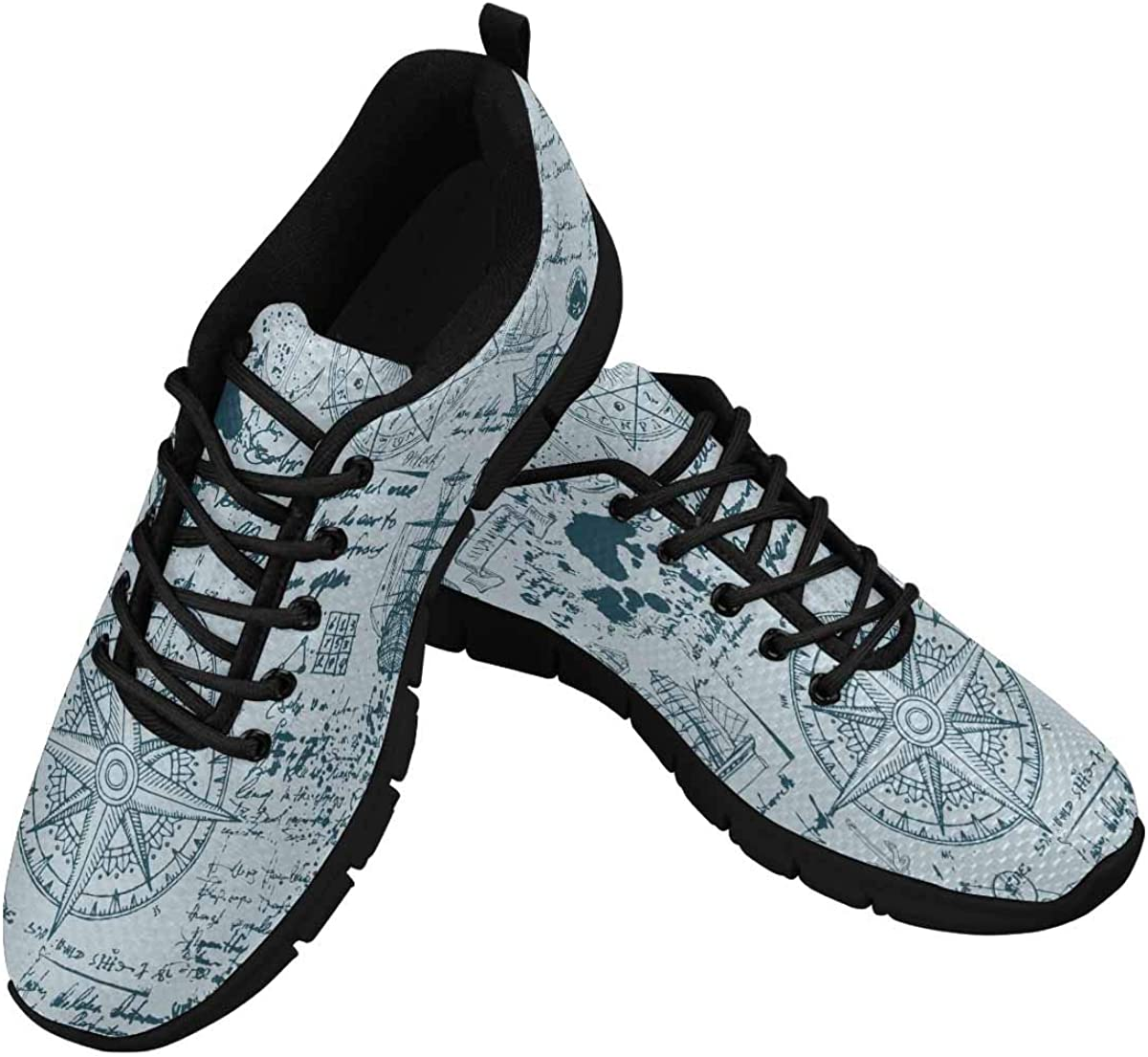 InterestPrint Old Manuscript with Caravels, Wind Rose Women's Lace Up Breathable Non Slip Sneaker