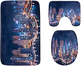 The Super Rich Country Dubai Bathroom Rug Mats Set 3-Piece,Soft Shower Bath Rugs,Contour Mat and Toilet Seat Lid Cover Non-Slip Machine Washable Flannel Toilet Rugs