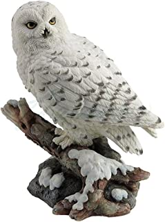 Snow Owl Perching on Branch Figurine