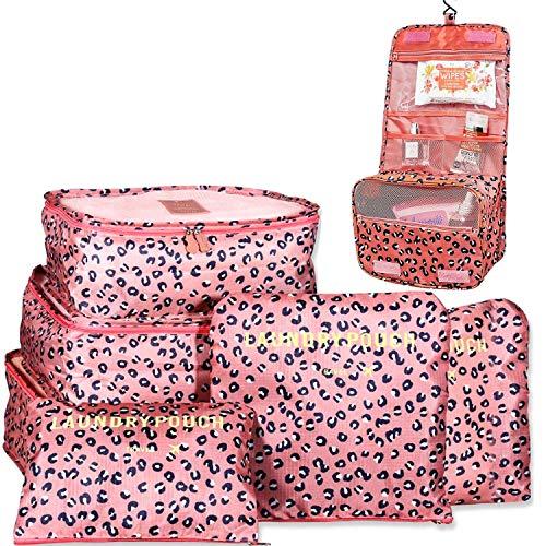 Organizador de Equipaje Viaje + Neceser de Viaje, Organizador de Maleta Impermeable Bolsas de Equipaje Cubos Embalaje Ropas, Neceser de Maquillaje Cosmético Gran Capacidad Plegable (Leopardo Rosa)