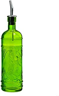 Deco Kitchen Olive Oil, Liquid Dish or Hand Soap Glass Bottle Dispenser ~ G182VF Lime Green ~ Metal Pour Spout and Cork Included with Glass Bottle