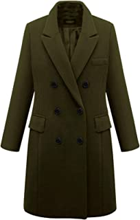 Women's Basic Designed Notch Lapel Double Breasted Mid-Long Wool Pea Coat