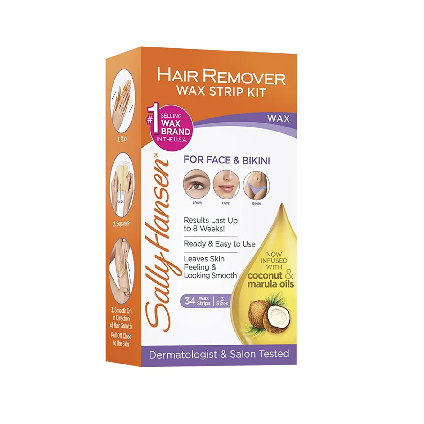 Sally Hansen Hair Remover Wax Kit for Face, Brows and Bikini, 34 Count (17 Double Sided Strips), Pack Of 1