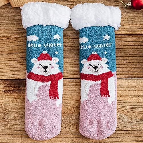 Quanyou Navidad lindo piso calcetines hembra de lana de cordero toalla calcetines tubo calcetines calcetines adultos cálido sueño calcetines (13)