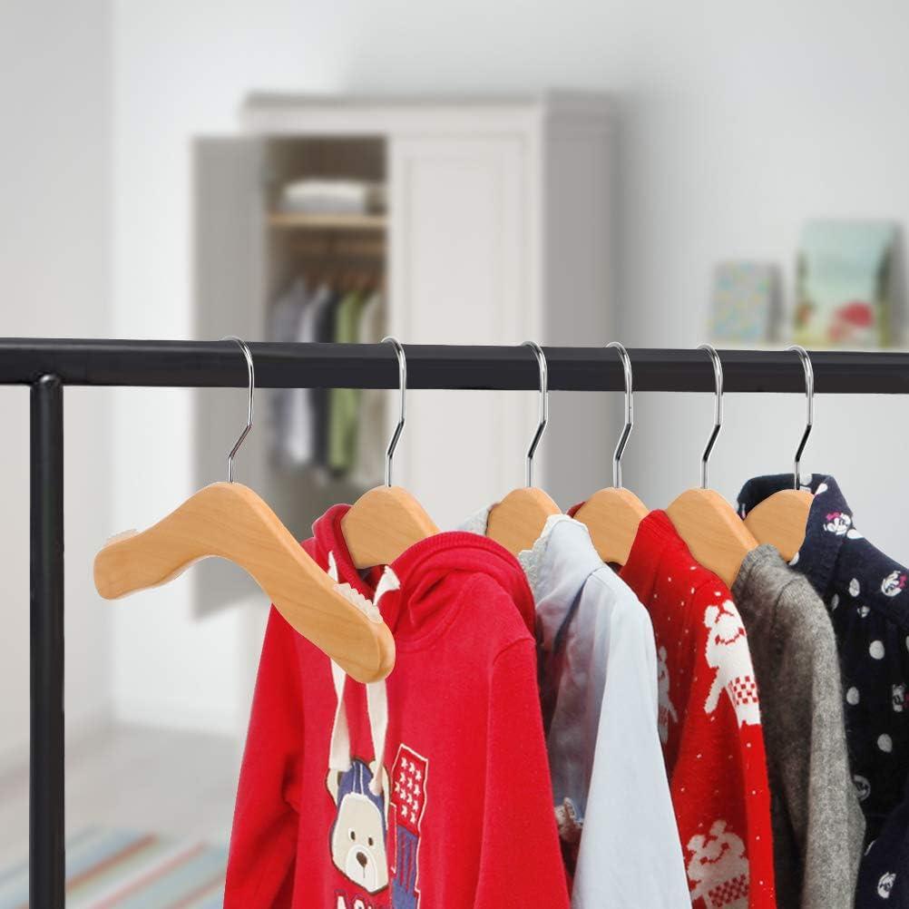6 Pack, Pink Yizhi Wooden Kids Hanger 11.8 Solid Wood Childrens Coat Hanger Baby Clothes Hanger 360 Swivel Hook Non-Slip Toddler Skirt Dress Hangers