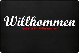 PlimPlom Fußmatte Anti Hoffenheim in schwarz - Lustige Fußball Schmutzfangmatte mit Statement für Dein Zuhause aus Polypropylen mit Rutschfester Unterseite