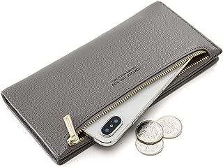 CYANB Women's Slim Wallet Bifold Clutch Card Holder Organizer Long Ladies Purse Zipper Pocket Gray