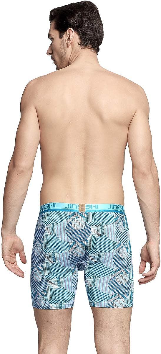 JINSHI Mens Boxer Briefs Underwear No Ride up Long Leg Big and Tall Athletic Underpants for Men M L XL 2XL 3XL
