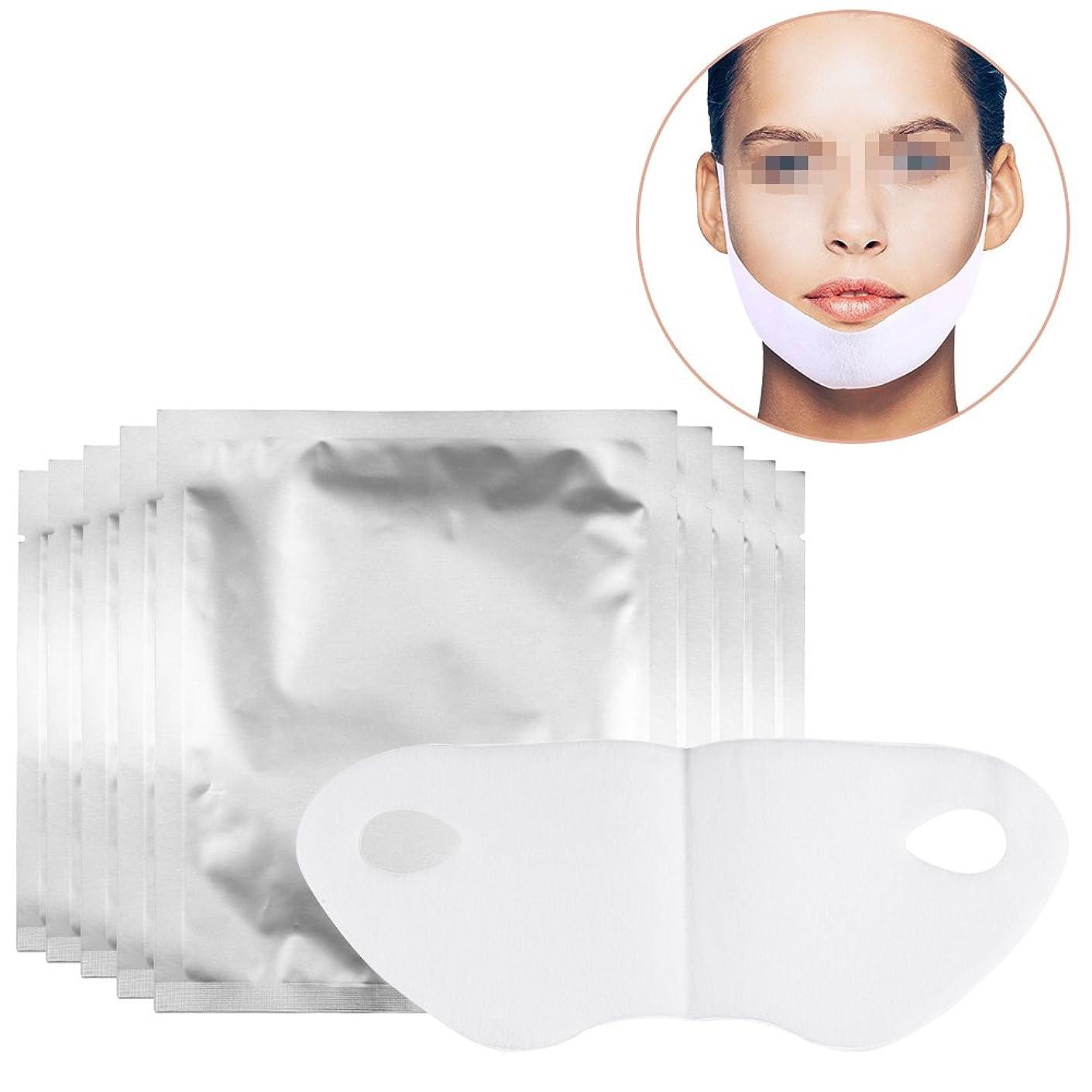 人工トライアスロン費やすスリミングフェイスマスク、v整形マスクリフトvシェイプフェイスチンチェックネックリフトピールオフマスク2ピース