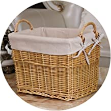 YAYADU Storage Basket Finishing Box Rattan Weave Hand Made Carry Handle High Capacity Store Toy Snacks Clothes Newspapers ...