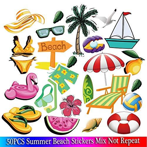 BLOUR Mode Sommerurlaub Strand Schwimmen Set PVC Aufkleber Dekor für Wasserflasche Laptop Pad Telefon Kofferraum Gitarre Fahrrad Motor 50 Stück/Los