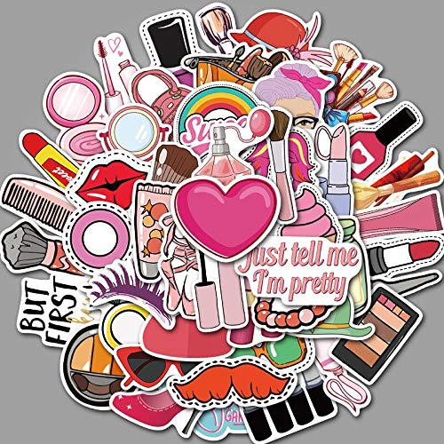 ZXXC 50 Uds, Cosméticos Diarios para niñas, Perfume, lápiz Labial, Zapatos, Bolsa, Pegatina Decorativa DIY para Maleta, Equipaje, portátil, monopatín, Pegatina para Coche