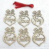 abbybubble 6 unids/Set Bombilla de luz Adornos de Madera Navidad árbol rústico Colgante Adorno decoración en Blanco Etiquetas de Regalo artesanías