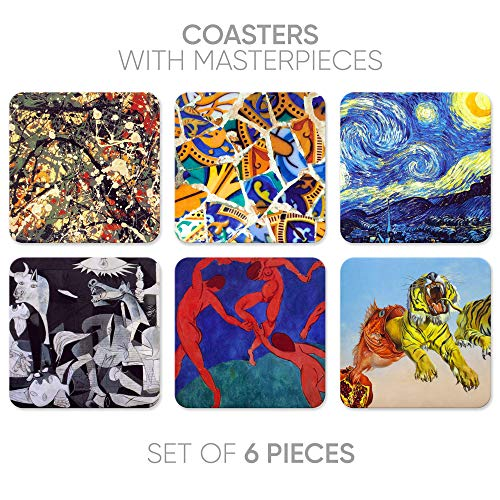 Coasters for Drinks 6 Pcs Cork Back Coasters with Funny Prints Art Series Bar Table Coaster Van Gogh art Picasso Dali/Home Deco/someecards coasters(Still life-1)