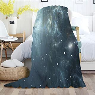 Ylljy00 Constellation,Throw Blankets,Flannel Plush Velvety Super Soft Cozy Warm with/Infinite Space with Nebula and Stars Universal Energy Cosmology/Printed Pattern(60
