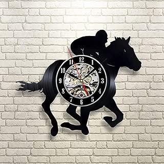 dhkawja 1Piece Horse Racing Vinyl Record Wall Clock Horse Rider Personalized Black Cd Clocks Handmade Art