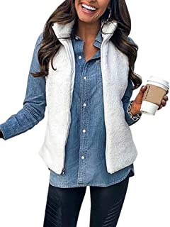 KIRJAUDU Women's Casual Sleeveless Zip Up Sherpa Fleece Vest Warm Cardigan with Pockets