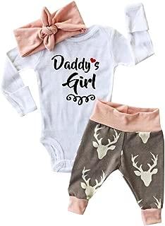 Baby Christmas Set Girl Romper Deer Prints Bodysuit+Pants Hairband Clothes