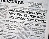 GOLD PRICING Henry Morgenthau Jr. & FDR Gold Buying Begins Again 1933 Newspaper THE NEW YORK TIMES, October 25, 1933