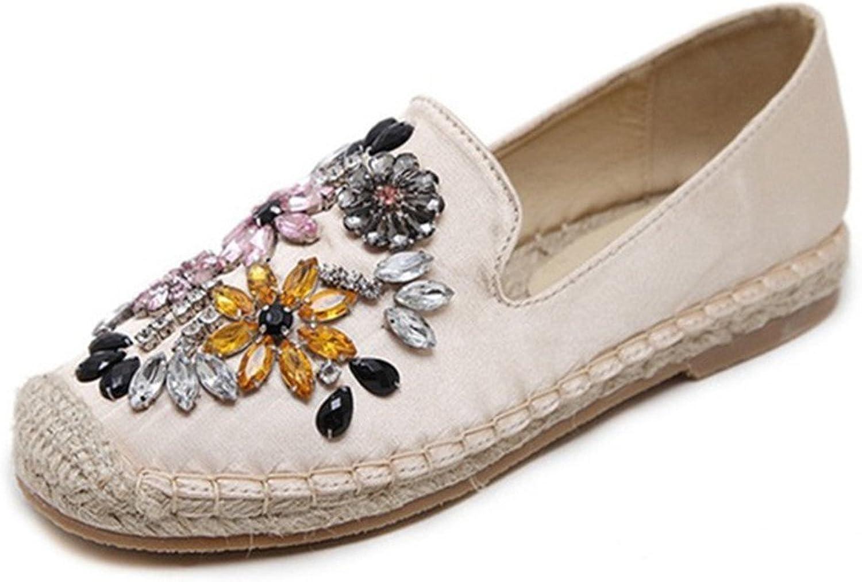 York Zhu Loafers Women, Crystal Flowers Fisherman Slip on Flats, Ladies Straw shoes