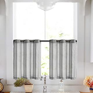 Tier Curtains for Kitchen 24 inch Length Cafe Curtains Striped Sheer Tier Window Curtain Set, Grommet Top, 2 Panels, Grey