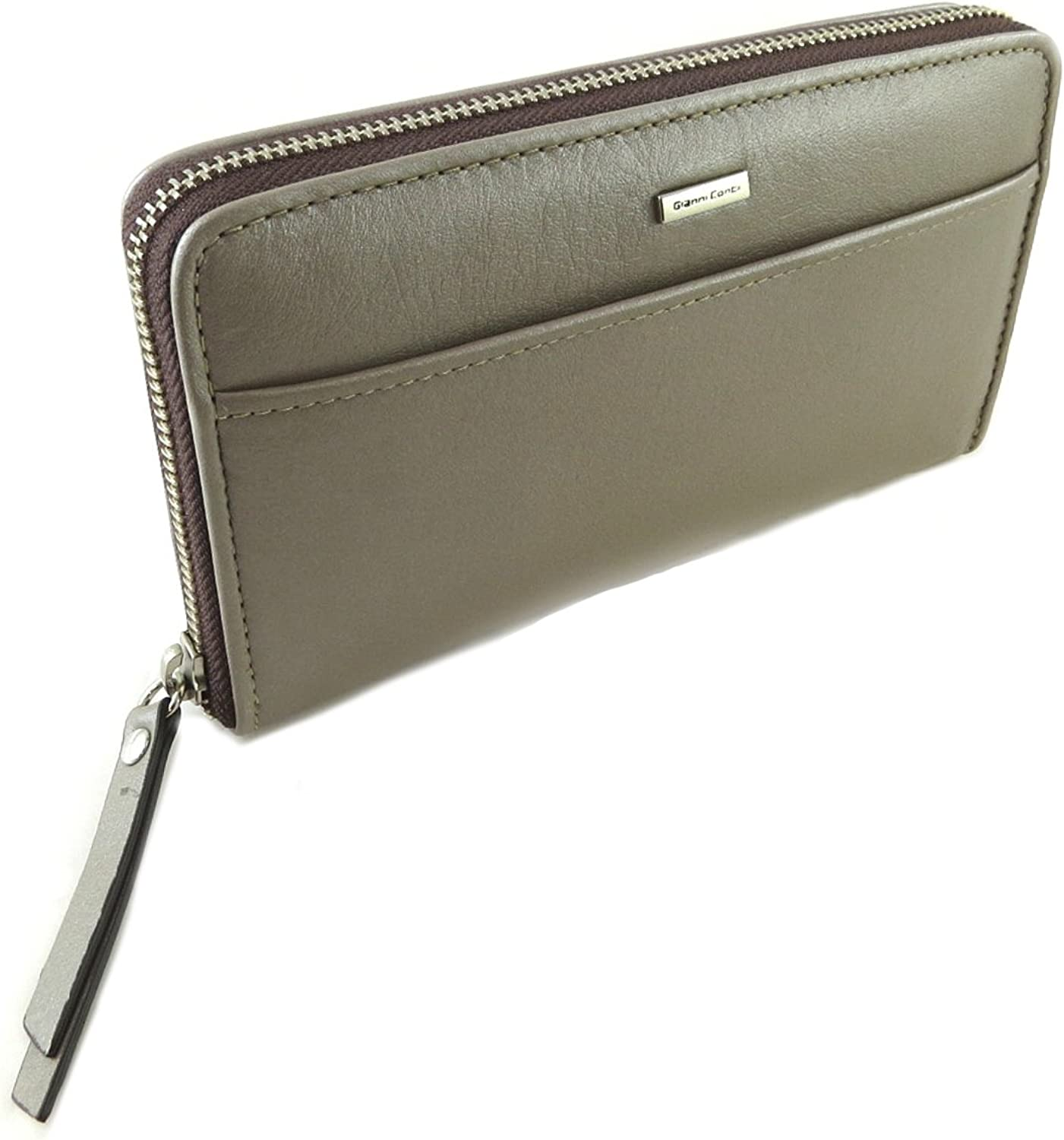 Gianni Conti [P9864]  Zip wallet + checkbook holder leather 'Gianni Conti' taupe  19x10.5x2.5 cm (7.48''x4.13''x0.98'').