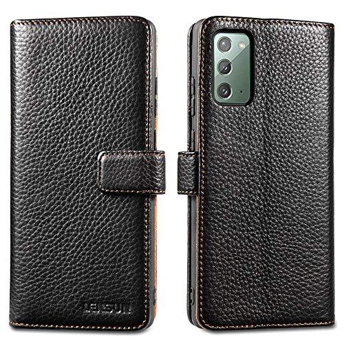 LENSUN Echtleder Hülle für Samsung Galaxy Note 20, Leder Handyhülle Kartenfächer Handytasche Lederhülle kompatibel mit Samsung Galaxy Note 20 5G – Schwarz(N20-LG-BK)